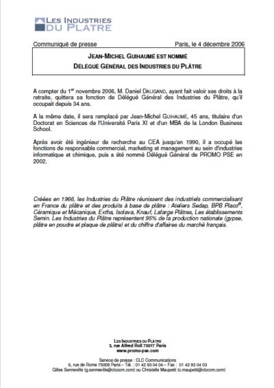 Jean-Michel Guihaumé est nommé délégué général des Industries du Plâtre