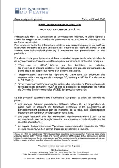 www.lesindustriesduplatre.org Pour tout savoir sur le plâtre
