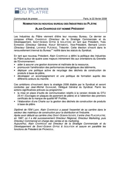 Nomination du nouveau bureau des Industries du Plâtre