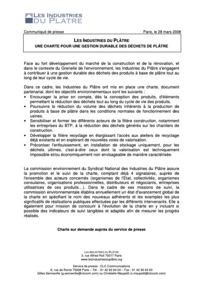 Les Industries du Plâtre, Une charte pour une gestion durable des déchets de plâtre
