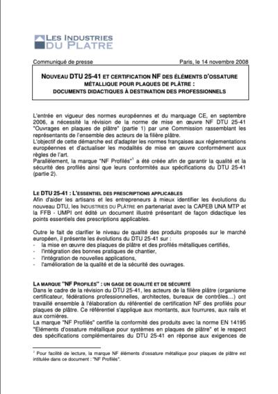 Nouveau DTU 25-41 et Certification NF