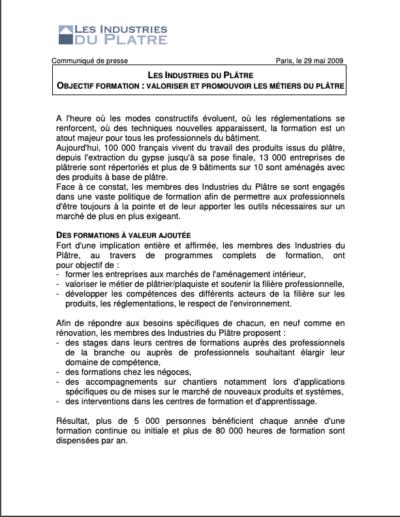 Les Industries du Plâtre, Objectif Formation : Valoriser et promouvoir les métiers du plâtre