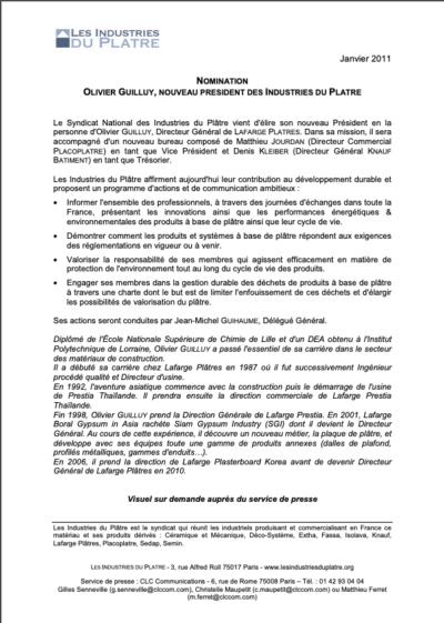 Les industries du plâtre, Nomination du bureau 2011