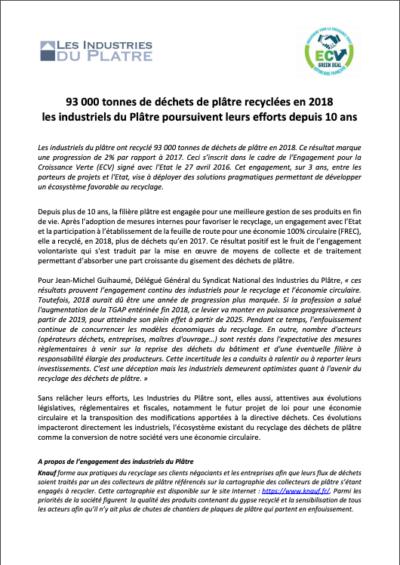 Communiqué Recyclage 2019