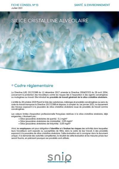 Fiche conseil n°13 – Silice cristalline alvéolaire