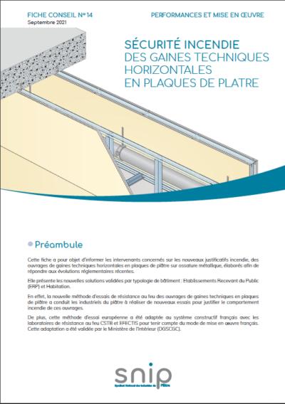 Fiche conseil n°14 – Sécurité incendie des gaines techniques horizontales en plaques de plâtre
